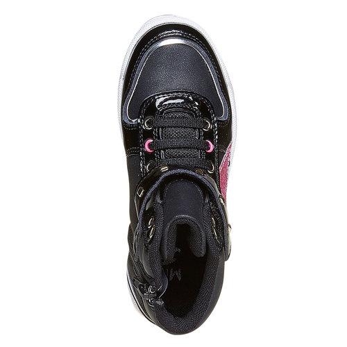 Sneakers da ragazza verniciate con glitter mini-b, nero, 221-6176 - 19