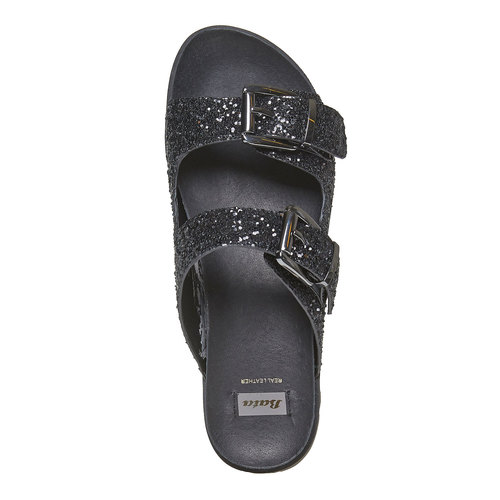 Slip-on scure da donna con paillettes bata, nero, 561-6309 - 19