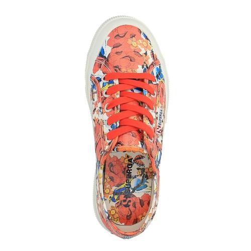 Sneakers da donna con stampa colorata superga, rosso, 589-5219 - 19