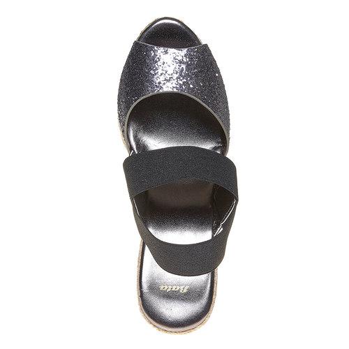 Sandali con tacco a zeppa e glitter bata, nero, 769-6548 - 19