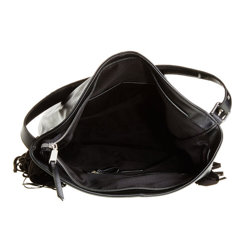 Borsetta con frange bata, nero, 961-6742 - 15