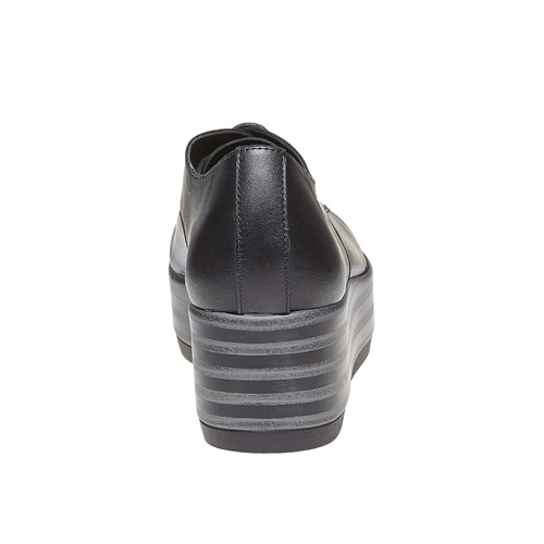 Scarpe basse di pelle con flatform bata, nero, 524-6409 - 17