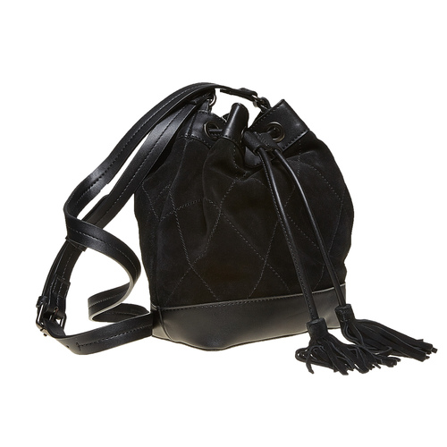 Borsetta in pelle stile Bucket Bag bata, nero, 963-6131 - 26