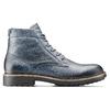 Scarpe blu di pelle alla caviglia bata, blu, 894-9522 - 26
