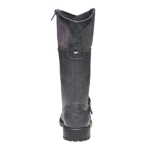 Stivali grigi da ragazza con strass mini-b, grigio, 391-2305 - 17