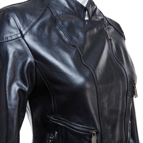 Giacca da donna in pelle con cerniere bata, nero, 974-6162 - 16