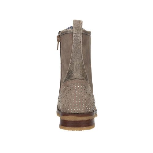 Scarpe da bambina con allacciatura e strass mini-b, marrone, 391-3262 - 17