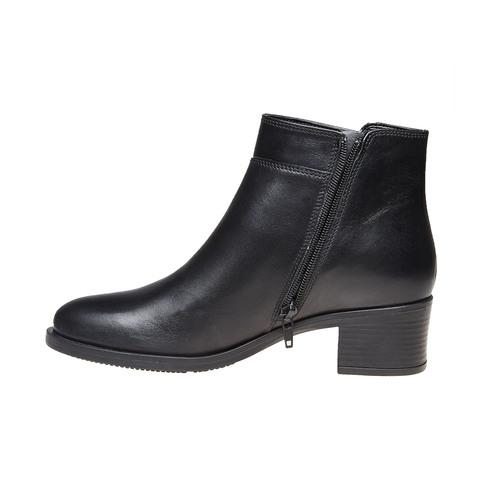Scarpe di pelle alla caviglia bata, nero, 694-6166 - 19