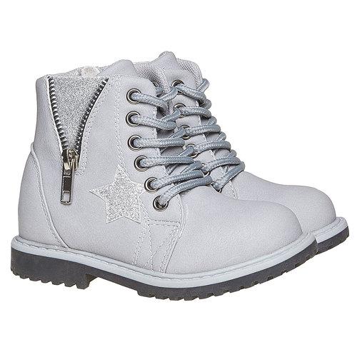 Scarpe alla caviglia da bambina con cerniera mini-b, grigio, 291-2161 - 26