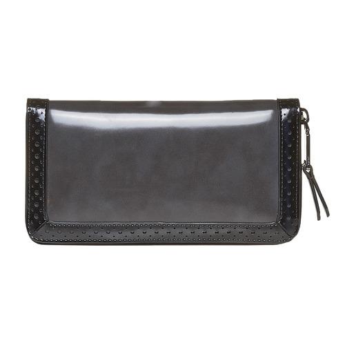 Portafoglio da donna con perforazioni bata, nero, 941-6142 - 26
