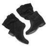 Stivali di pelle con tacco con zeppa bata, nero, 693-6391 - 26