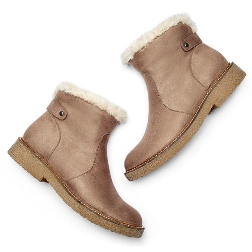Scarpe alla caviglia con bordo in pelliccia bata, grigio, 599-2997 - 19