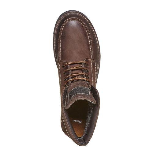 Scarpe alla caviglia da uomo in pelle bata, marrone, 896-4687 - 19