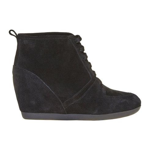 Sneakers di pelle con zeppa bata, nero, 723-6828 - 15