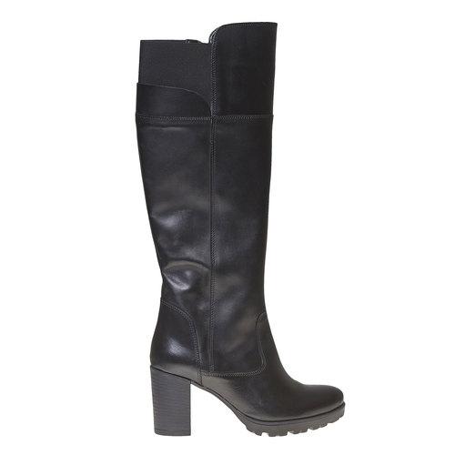 Stivali di pelle con tacco massiccio bata, nero, 794-6580 - 15