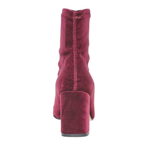 Stivaletti di velluto bordeaux bata, rosso, 799-5643 - 17