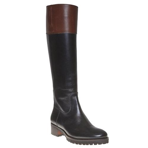Stivali in pelle da donna con suola casual bata, nero, 594-6166 - 13