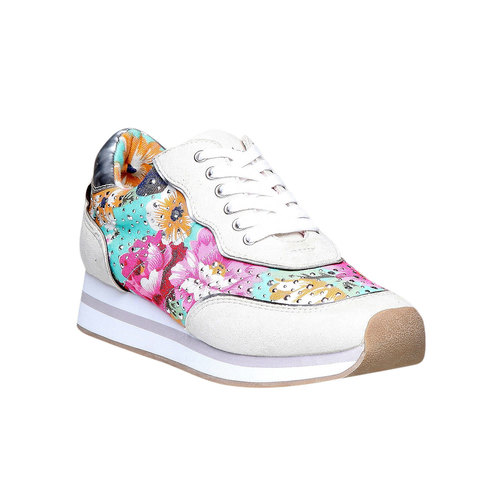 Sneakers da donna con motivo floreale north-star, verde, 549-7211 - 13