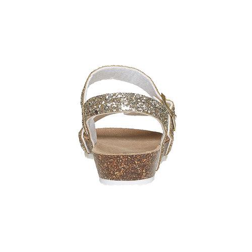 Sandali con glitter e suola di sughero mini-b, oro, 369-8189 - 17