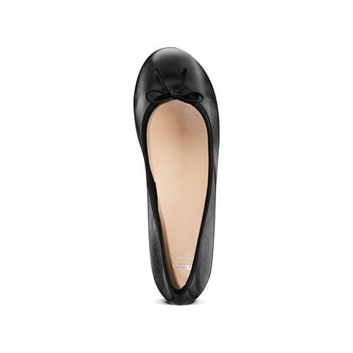 Ballerine in pelle bata, nero, 524-6144 - 17