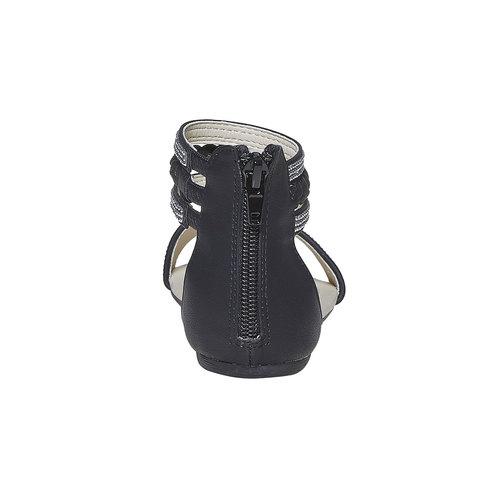 Sandali da ragazza con strass mini-b, nero, 361-9178 - 17