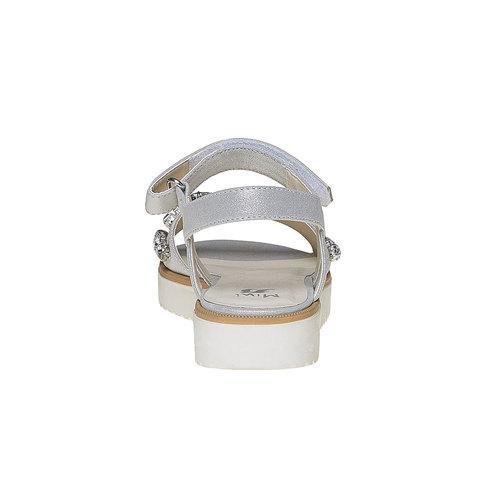 Sandali con flatform con pietre mini-b, bianco, 361-1174 - 17