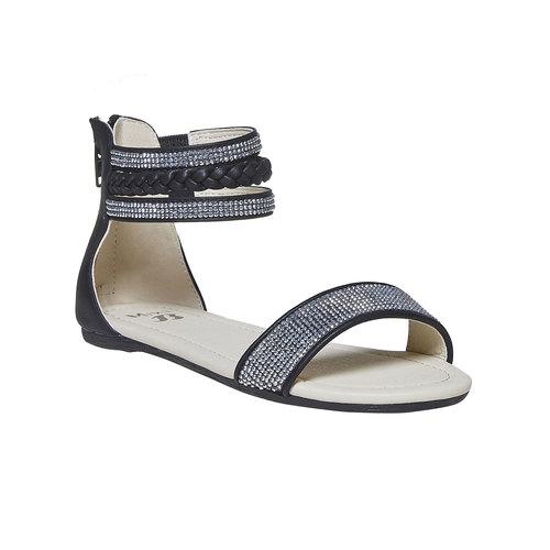 Sandali da ragazza con strass mini-b, nero, 361-9178 - 13