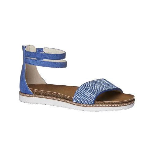 Sandali da ragazza con strass mini-b, blu, 361-9161 - 13