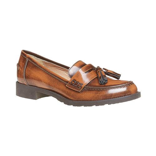 Loafers da donna in pelle con nappe bata, marrone, 514-3246 - 13