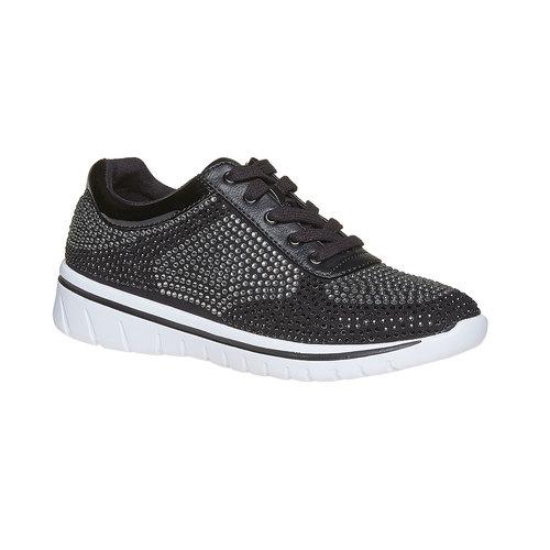 Sneakers da donna con strass, nero, 549-6261 - 13