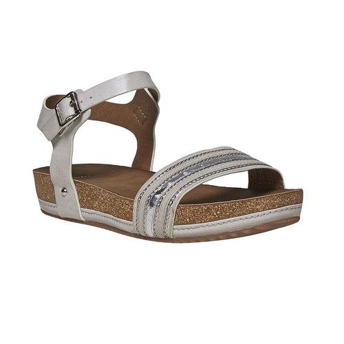 Sandali da donna con flatform bata, grigio, 561-2404 - 13