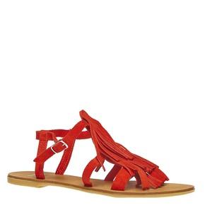 Sandali di pelle con nappe bata, rosso, 563-5130 - 13