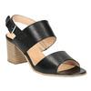 Sandali di pelle con tacco ampio bata, nero, 664-6205 - 13