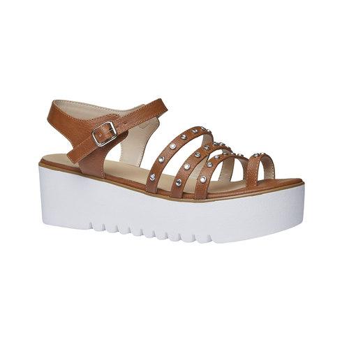 Sandali da donna con flatform bata, marrone, 661-3186 - 13