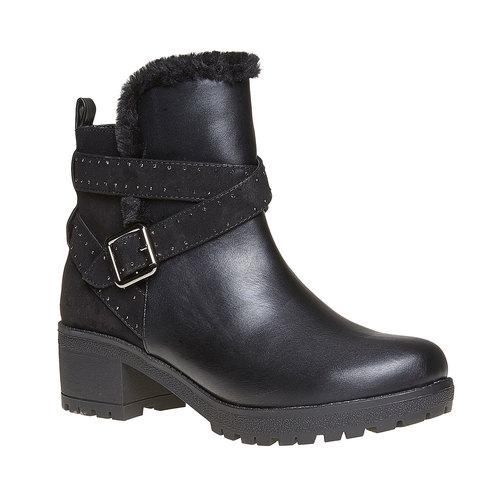 Scarpe da donna alla caviglia con suola appariscente bata, nero, 691-6160 - 13