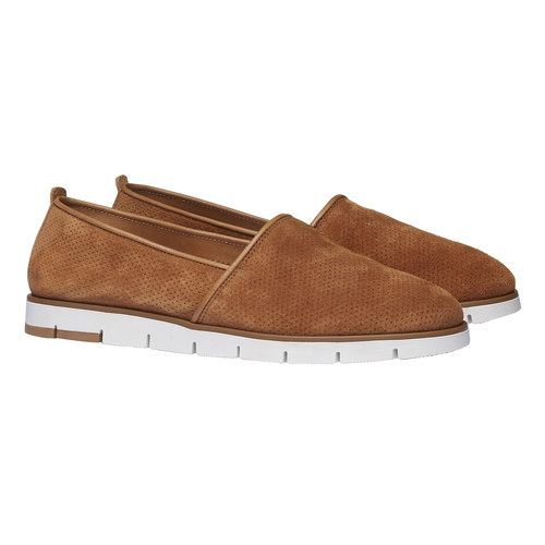 Slip-on di pelle con perforazioni flexible, marrone, 513-3200 - 26