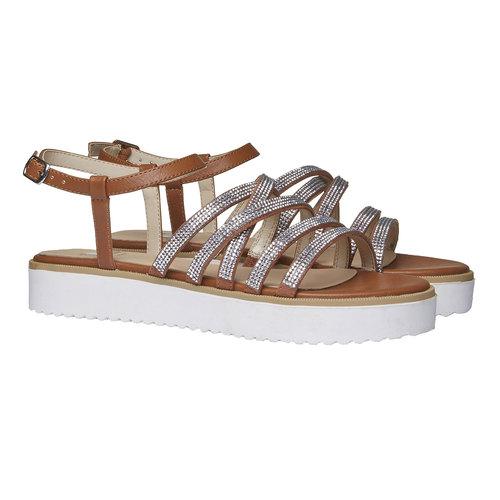 Sandali da donna con strisce e flatform bata, marrone, 561-3226 - 26