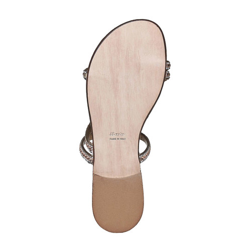 Sandali da donna con strass bata, giallo, 571-8169 - 26