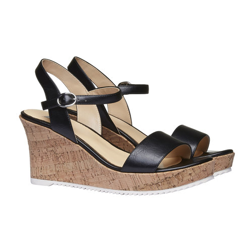 Sandali da donna con plateau bata, nero, 761-6523 - 26