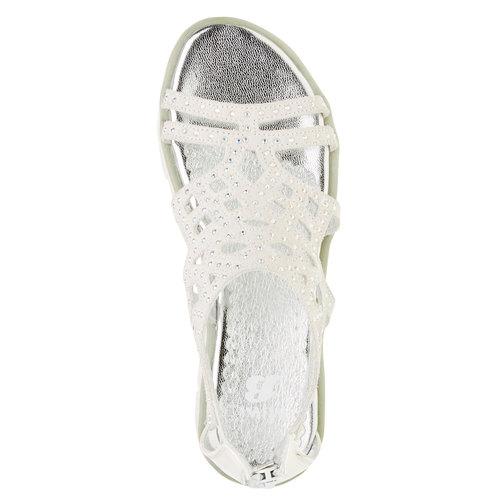 Sandali in pelle con pietre mini-b, bianco, 363-1170 - 19