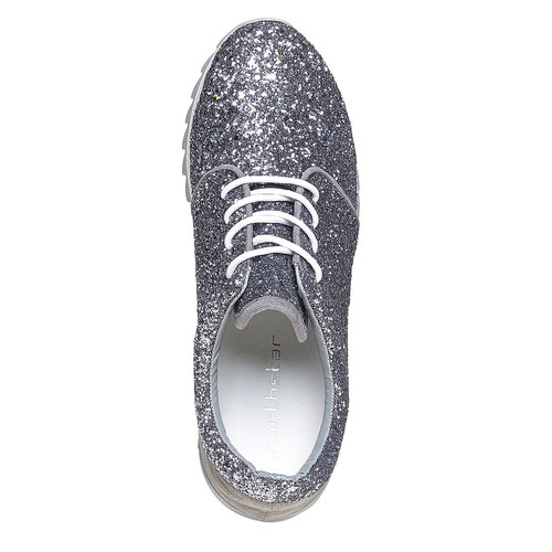 Sneakers da donna con glitter north-star, argento, 549-1262 - 19