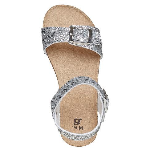 Sandali con glitter e suola di sughero mini-b, grigio, 369-2189 - 19