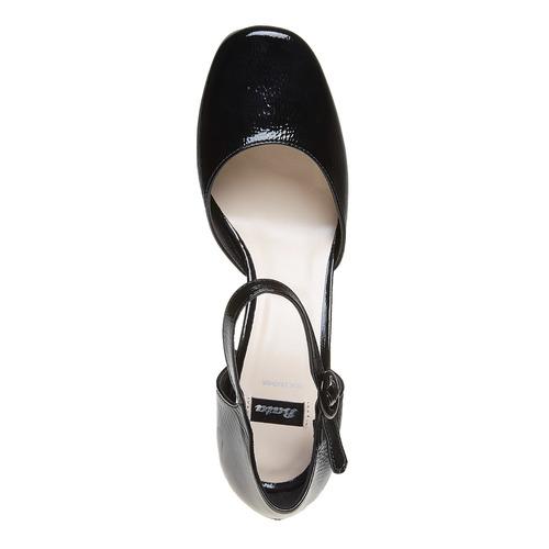 Sandali verniciati in pelle con punta chiusa bata, nero, 728-6372 - 19