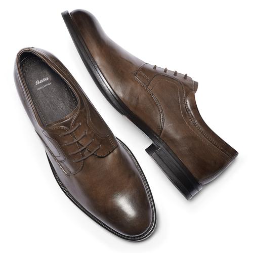 Scarpe basse marroni di pelle da uomo bata, marrone, 824-4460 - 19