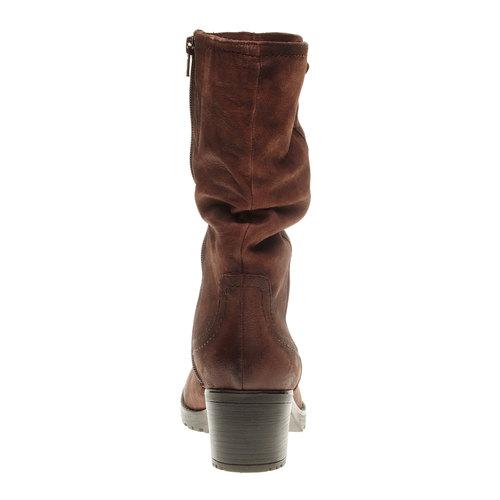 Stivali di pelle con tacco stabile bata, marrone, 696-4127 - 17