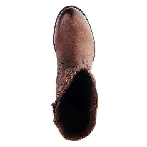 Stivali di pelle con tacco stabile bata, marrone, 696-4127 - 19