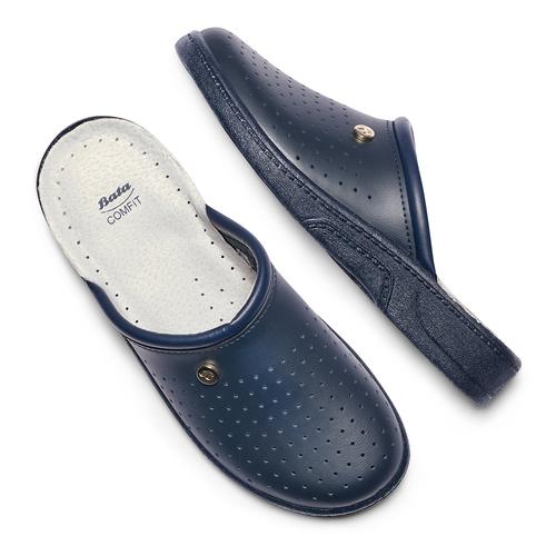 Pantofole di pelle bata-comfit, blu, 874-9803 - 19