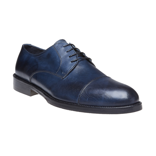 Scarpe basse di pelle blu con suola in pelle bata-the-shoemaker, blu, 824-9185 - 13