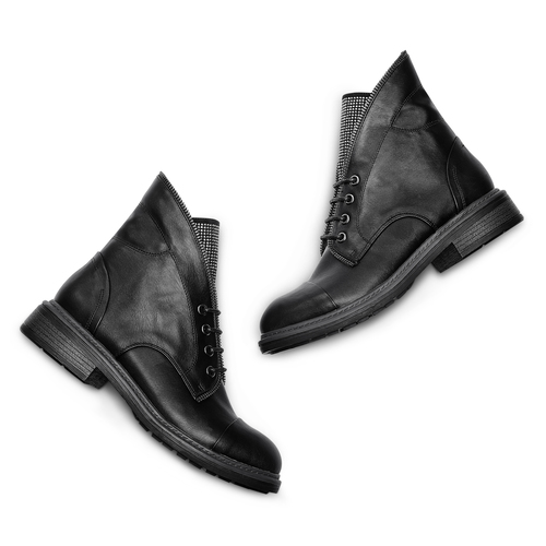 Ankle Boots con lacci bata, nero, 591-6507 - 26