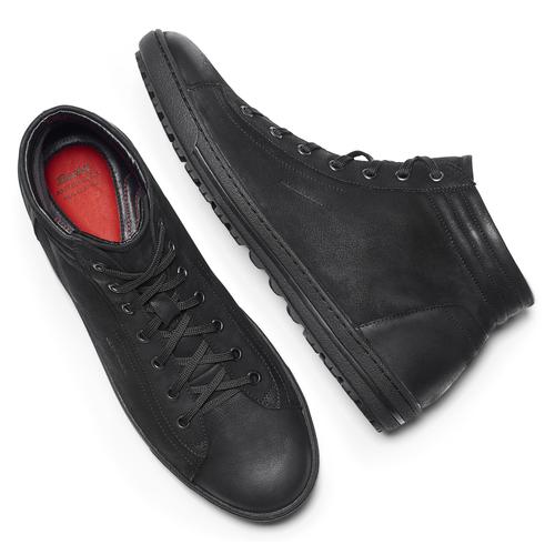 Sneakers alte da uomo in pelle bata, nero, 894-6295 - 19